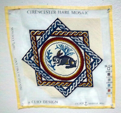 Clio Design Needlepoint canvas, Cirencester hare Mosaic Tapestry, Finished work