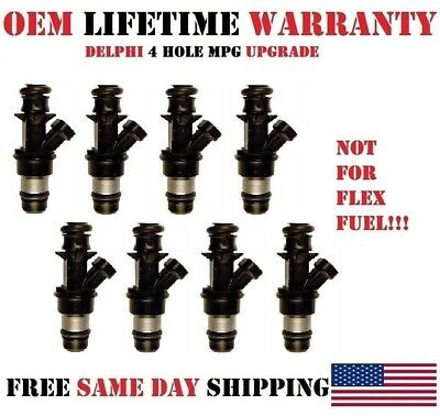 4 Hole Performance Upgrade 8x OEM Delphi Fuel injectors for GM Cars 4.8//5.3//6.0L