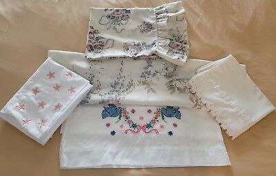 Vintage Embroidered and Print Pillowcases Shabby Chic Flowers Doves Lot of 5