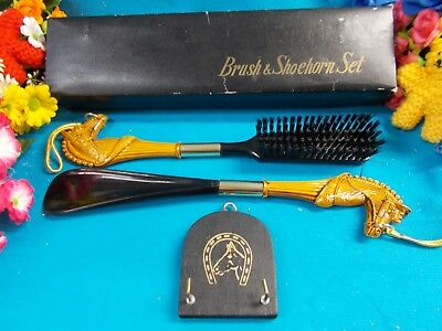 *** Lovely Brush And Shoe Horn Set - Horse Design - In Original Box Ex Cond ***