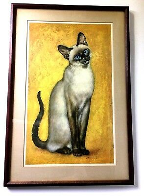Siamese Blue Point Cat Print By Girard 1964 Framed Vintage