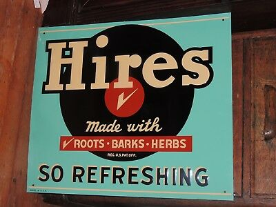 Hires Root Beer Tin Sign Reproduction Of Vintage Sign 24''x 28''