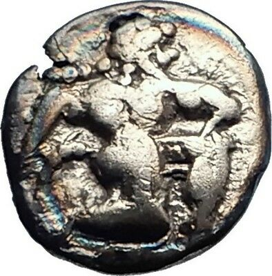 LETE in MACEDONIA Archaic Ancient 530BC Silver Greek Coin w SATYR Rare i74157