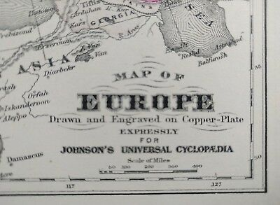 Original 1874 EUROPE Map Old Antique FRANCE ITALY GREECE SPAIN UK BELGIUM MAPZ