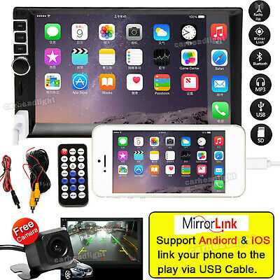 7 Inch Double Din Mirror Link Car Stereo & Backup Camera Audio MP5 Touch Screen