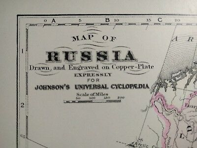 Original 1874 RUSSIA Map Old Antique MOSCOW ST PETERSBURG KAZAN MAPZ