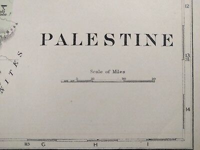 1896 PALESTINE Map Old Antique JERUSALEM ISRAEL NABLUS HEBRON GAZA JENIN MAPZ