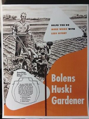 Bolens Huski Gardener Tractor Seeder Tiller Plow COLOR Sale Brochure Manual 1948