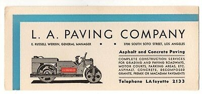L.A. Paving Company,Los Angeles,California,Ink Blotter (Vintage Steamroller)