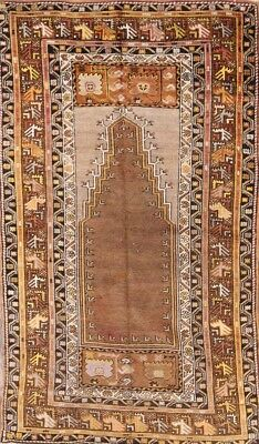 Collectible Pre-1900 Geometric Antique 4x6 Oushak Turkish Oriental Area Rug Wool