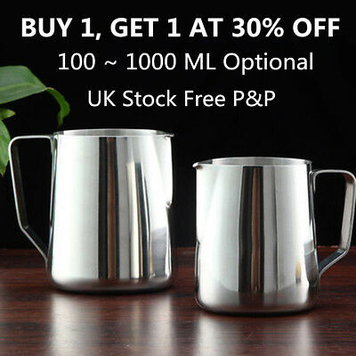 Stainless Steel Milk Frothing Jug Frother Coffee Latte Container Metal Pitcher N