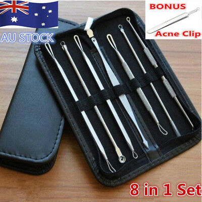 8Pcs Set Kit Blackhead Extractor Tool Remover Pimple Blemish Comedone Acne Clip