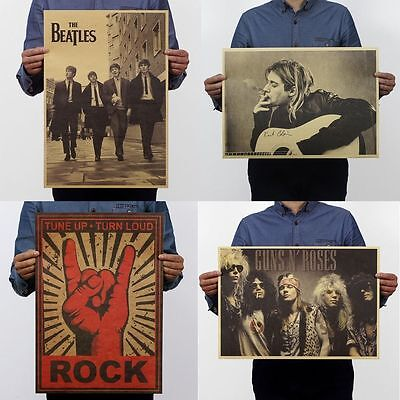 21 Types Retro Pop Music Rock Band Stars Kraft Paper Poster Bar Pub Decor