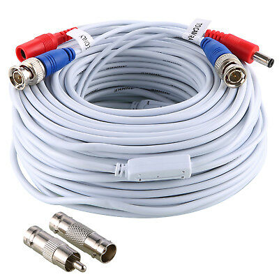 ANNKE 30m 100FT BNC Video DC Power White Cable for CCTV Camera DVR Security