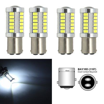 4Pcs 1157 BAY15D 5630 LED Bulbs 33SMD Turn Tail Backup Stop Reverse Light White