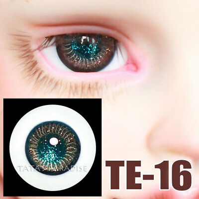 TATA glass eyes TE-16 16mm for BJD SD MSD 1/3 1/4 size doll use silver+green