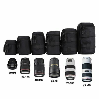 Waterproof Universal Camera Lens Bag Padded Pouch Protective Carry Case Black