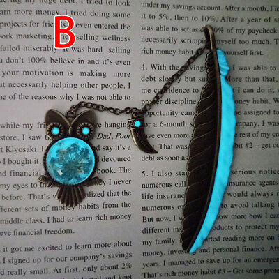 1X Luminous Night Owl Bookmark Label Read Maker Feather Book Mark Stationery BH