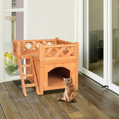 New Small Puppy Pet Cat House Wooden Room with Bed Shelter Roof Outdoor &Indoor