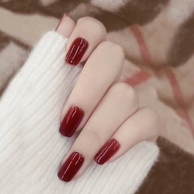 24Pcs Artificial Nails Fake Nail Art Red Wine Square New Year Festive Decoration