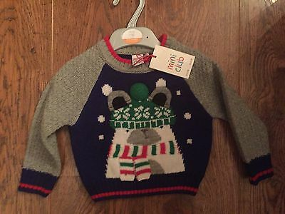 Mini Club From Boots Boys Christmas Jumper Age 9-12 Months Bnwt