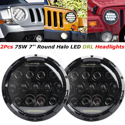 "2x 7"" Round Hi/Lo Beam Headlight Projector LED DRL For JEEP JK Wrangler 75W"
