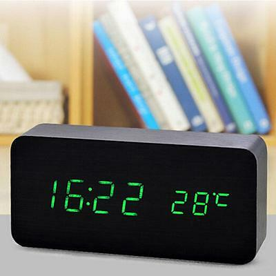 Digital Led Wood Desk Table Alarm Clock Timer Thermometer Snooze Voice Control*