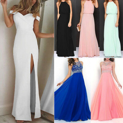 Womens Formal Long Dress Wedding Evening Split Ball Gown Cocktail Bridesmaid AU
