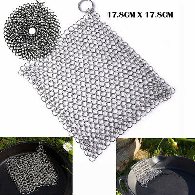 3 size Stainless Steel Chainmail Ringer Scrubber Skillet Pot Cast Iron Cleaner