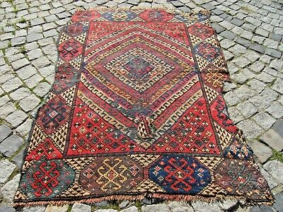 Fabulous Antique Awesome  Primitive Collections West Anatolian Fragment Rug