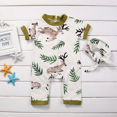 d50f838e2ae 2pcs Newborn Baby Girl Deer Romper Bodysuit Jumpsuit Headband Outfits  Clothes
