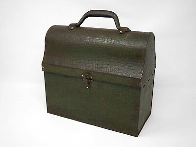 Handsome Antique Vintage Thermos 1930s Lunchbox Lunch Box Mock Croc Handbag