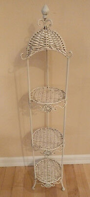 Vintage 3 Tier Plant Stand White Wicker & Metal/Iron