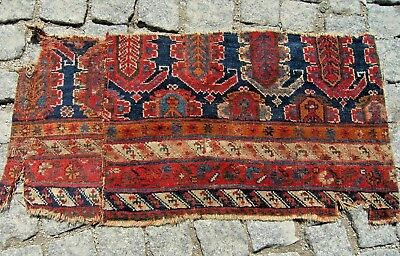 FABULOUS ANTIQUE 1850's AWESOME CAUCASIAN  COLLECTOR'S PIECE FRAGMENT  RUG