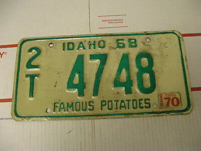 1968 68 1970 70 Idaho ID License Plate 2T4748 Famous Potatoes