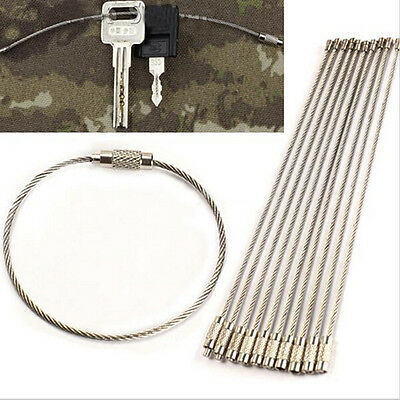10pcs Stainless Steel EDC Cable Wire Loop Luggage Tag Key Chain Ring Screw byus