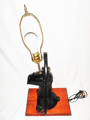 Antique Red Jacket Lamp Conversion Cast Iron Water Hand Pump - Awesome!