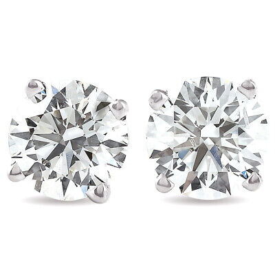 .20 CT Round Cut Stud Earrings Brilliant Cut with Backs 14K White Gold 3.1mm