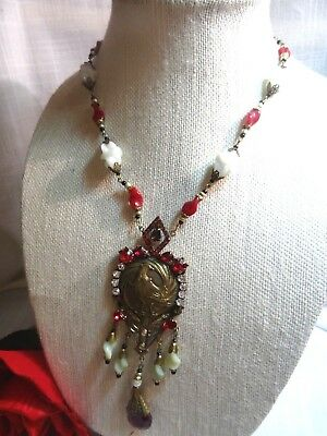 Large CZECH Egyptian Revival Peacock Art Deco Red/White/Green Pendant Necklace