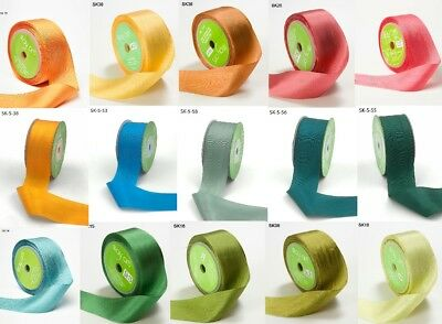 NEW COLOURS! May Arts 100% Pure Silk 32mm Ribbon - sold by the metre