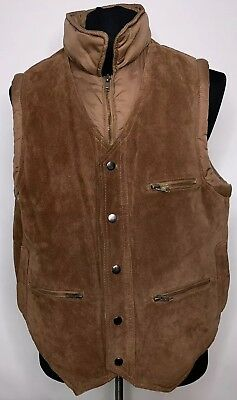 Mens Bermans Brown Leather Suede Puffer Vest Coat 48 Work Cowboy Biker Vintage