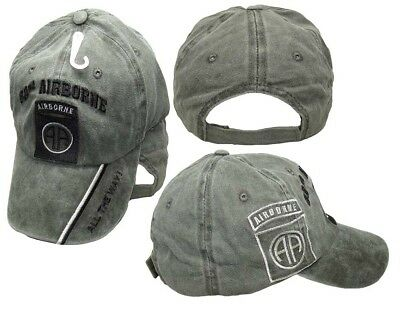 e874d2c376ebf 82nd Airborne All The Way! Olive Stone Washed Shadow Embroidered Cap  CAP627B Hat