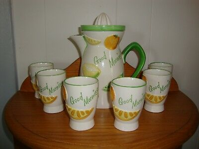 """1961 """"Good Morning"""" 8 piece Juice Set by Napco.  Pitcher, reamer and glasses"""