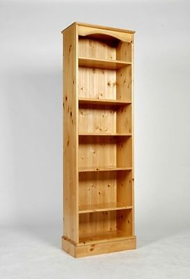 Tall Narrow Solid Wood Pine Bookcase 5 Shelves Hand Waxed Can Make Any Size