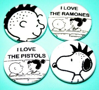 X4 Sex Pistols Ramones Charlie Brown Snoopy Peanuts Punk Rock Button Pin Badges