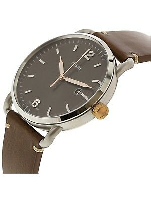 0758f46fd098 Fossil Men s The Commuter Three-Hand Date Light Brown Leather Watch FS5417