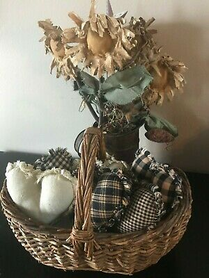 New Farmhouse Plaid Ornies Bowl Fillers PrImITive Hearts Black Tan Rag Rustic
