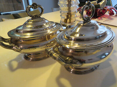 Antique Silverplate Pair Mid 19thc Henry Wilkinson Sauce Tureens