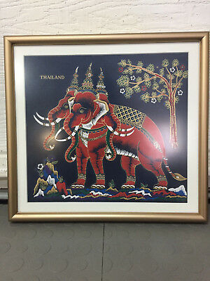 ***thailand Silk Painting Elephant Asian Painting Art Textile Vintage***