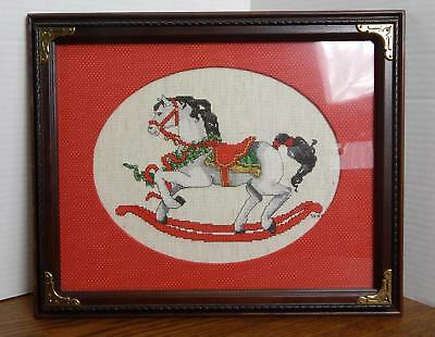 OOAK Rocking Horse Finished Cross-Stitch Christmas Wall Hanging Framed SIGNED